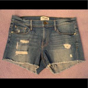 """FRAME """"le cutoff"""" distressed denim shorts"""